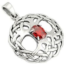 Red garnet 925 sterling silver celtic tree of life pendant jewelry a13404