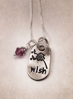 Hand stamped pewter necklace wish make a wish by TheWagTaggery