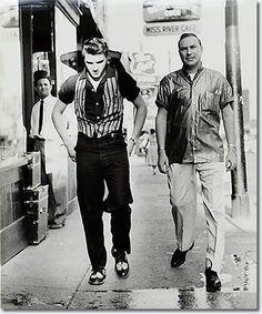Elvis Presley and Dewey Phillips (greatest rock n roll radio programmer) walking in Memphis dixiepickersstore.com