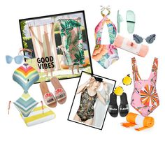 """""""Pool style"""" by laveldar on Polyvore featuring Luxor Linens, PBteen, Mara Hoffman, Honey Punch, Emilio Pucci, Kate Spade, Schutz, Vans, ban.do and Miu Miu"""