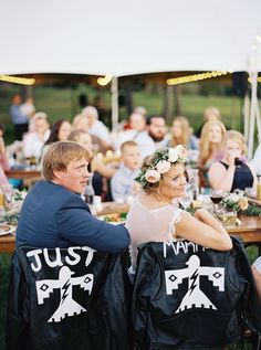 """""""One of our favorite details were the 'Just Married' leather jackets custom-made…"""
