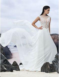 A-line Court Train Wedding Dress - Jewel Chiffon – USD $ 169.99