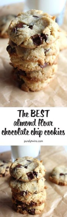 The BEST almond and coconut flour chocolate chip cookies(dairy free, gluten free). Super easy to make and taste incredible. Soft and chewy gluten-free grain-free chocolate chip cookie recipe your whole family will love. Used veg oil instead of coconut oil Gluten Free Sweets, Gluten Free Baking, Dairy Free Recipes, Paleo Recipes, Stevia Recipes, Dinner Recipes, Baking Recipes, Paleo Chocolate Chip Cookies, Paleo Cookies