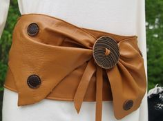 Tan Butterscotch Leather Butterfly Belt