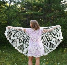 Crochet Shawl natural off white color unique by AllKnittedLace