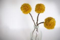 yarn pom pom flowers.