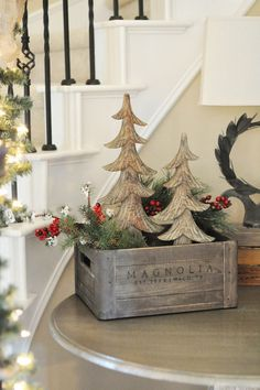 Cute little trees in a wood box. Merry Christmas!