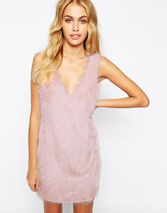 Fashion Union Flapper Style Dress In Fluffy Texture