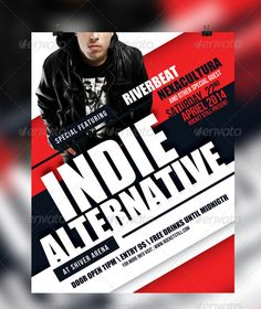 Indie Flyer Template — Photoshop PSD #red #rock • Available here → https://graphicriver.net/item/indie-flyer-template/7319466?ref=pxcr