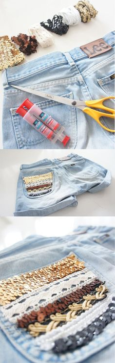 DIY lace, sequins or leather pockets . So cool! You could do it with anything from old belts to head bands!