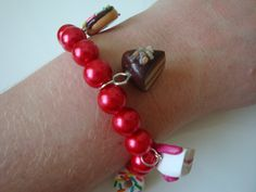 The English Tea Party Bracelet Red by traceysjewellery on Etsy, Handmade Jewellery, Unique Jewelry, Handmade Gifts, Tea Party, Beaded Bracelets, English, Red, Leather, Etsy