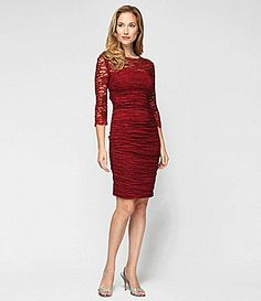 Alex Evenings Taffeta and Lace Sheath Dress #Dillards.  My friend Beth would look great in this for her daughter's wedding.