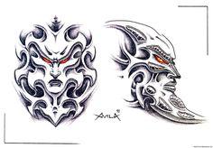 Bio Mechanical #face #tattoo #art
