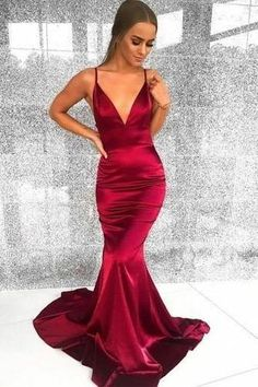 Silk prom dress - Prom Dresses Elegant, Sexy Burgundy Elastic Satin Mermaid V Neck Backess Prom Dresses 2020 – Silk prom dress Tight Prom Dresses, Mermaid Prom Dresses, Sexy Dresses, Form Fitting Prom Dresses, Red Mermaid Dress, Mermaid Evening Gown, Evening Gowns, Red Silk Prom Dress, Long Satin Dress