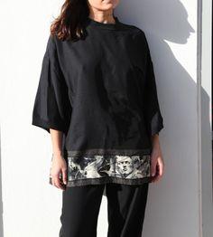 POUR GIBO black Greek pattern blouse