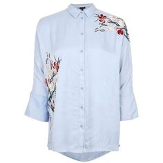 Topshop Tokyo Fusion Embroidered Shirt (115 BGN) ❤ liked on Polyvore featuring tops, blue top, embroidery top, blue shirt, topshop shirts and viscose tops