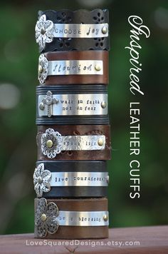 Premium Leather cuff, Personalized leather cuff bracelet, custom metal stamped cuff, Inspired leather cuff by LoveSquaredDesigns on Etsy
