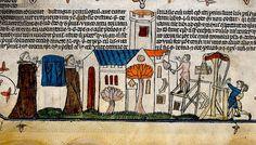 Men building Church and two Monks. c, 1475-1525. bas de page. BL