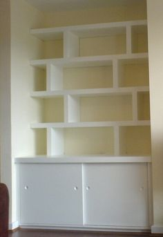 Alcove built-ins with sliding doors? Alcove Cupboards, Cupboard Shelves, Built In Cabinets, Room Shelves, Built In Shelves, Built Ins, Cupboard Doors, Alcove Ideas Living Room, Bedroom Alcove