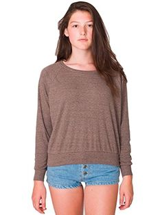 American Apparel TriBlend Light Weight Raglan Pullover  TriCoffee  Large *** Check this awesome product by going to the link at the image.