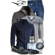 Men's Semi-Casual by jacci0528 on Polyvore featuring Topman, True Religion, Doublju, Calvin Klein, Emporio Armani, Alfred Dunhill, Sperry Top-Sider, casual, mens and menswear