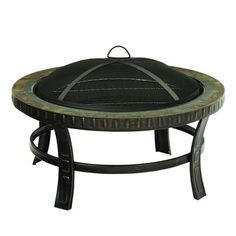 Pleasant Hearth - 30 Inch Slate-Top Wood Burning Fire Pit - - Home Depot Canada Copper Fire Pit, Metal Fire Pit, Wood Burning Fire Pit, Fire Pit Lowes, Gas Fire Pit Kit, Fire Pit Seating, Fire Pit Table, Garden Fire Pit, Fire Pit Backyard