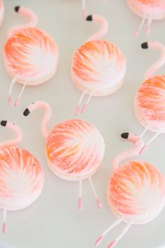 Flamingo macarons from a Tropical Birthday Party on Kara's Party Ideas Flamingo Party, Flamingo Cake, Beaux Desserts, Cute Desserts, Macaron Cookies, Macaron Recipe, French Macaroons, Tropical Party, Cute Food
