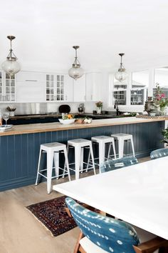 incredible kitchen with navy accents
