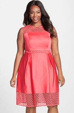 Calvin+Klein+Eyelet+Detail+Fit+&+Flare+Dress+available+at+#Nordstrom