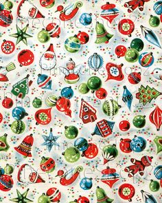 Vintage Christmas Wrapping Paper 8x10 inch Instant Download by PineconeShop2 on Etsy