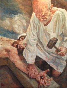 Rob Floyd Fine Art - Stations of the Cross, Christ is Nailed to The Cross (Eleventh Station)107cm x 80cm