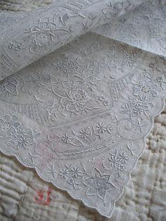 Swiss Appenzell hankie vintage whitework by OldEnglishRoses