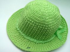 Summer adult hat Wide brim hat summer women's crochet Crochet Hat With Brim, Crochet Summer Hats, Crochet Hats, Summer Hats For Women, Cotton Hat, Wide-brim Hat, Green Ribbon, Sun Hats, Knitting