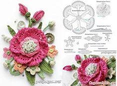 New crochet heart applique flower tutorial ideas Irish Crochet Patterns, Crochet Chart, Crochet Designs, Freeform Crochet, Crochet Motif, Diy Crochet, Crochet Ideas, Crochet Leaves, Crochet Flowers