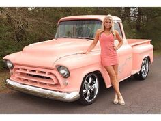 57 Chevy Truck/ Girls and their trucks/ 57 Chevy Trucks, Classic Chevy Trucks, Chevy Pickups, Pickup Trucks, Classic Cars, Chevy Stepside, Chevy 4x4, Chevy Classic, Trucks And Girls