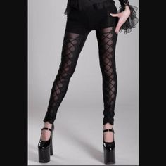 Secret Garden Corseted Black Leggings by Punk Rave