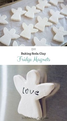 Love-ly angel fridge magnets made using baking soda clay, cookie cutters and letter stamps. I fun DIY decor or gift idea for a wedding, Christening, First Communion or other special event. First Communion Party, Communion Gifts, Gay Couple, Gay Pride, Cornstarch Clay, Diy For Kids, Crafts For Kids, Baking Soda Clay, Diy Cookie Cutter