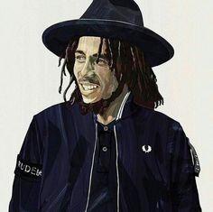 **Bob Marley** in Fred Perry. ►►More fantastic caricatures, cartoons & sketch arts, pictures, music and videos of *Robert Nesta Marley* on: https://de.pinterest.com/ReggaeHeart/ ©Takumi Tsuda/ @tt_art_arch