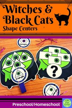 Do you have children in your class who are at different stages of learning? Are you teaching one theme that you want all of your kids to have access to with shapes? This Witches Halloween Math, Halloween Activities, Halloween Themes, Halloween Witches, Numbers Preschool, Preschool Math, Maths, Morning Activities, Cat Activity