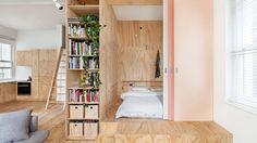 living bedroom plywood pink doors