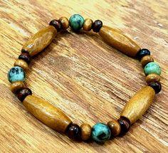 Wood and Turquoise Bracelet