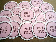 Alice In Wonderland ~ Birthday Party Decoration Idea ~ Eat Me ~ Tea Party ~ Baby Shower ~ Wedding Shower ~  Birthday Party Decoration Idea ~ Customized Confetti & Cupcake Toppers ~ www.missymadeit.com