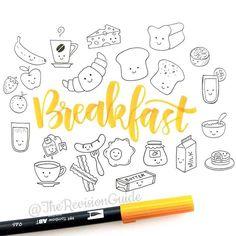 Frühstück malen. Doodles