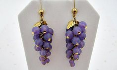Vintage Earrings - 1989 Avon Frosted Grapes - Lavender Dangle Stud Post Earrings