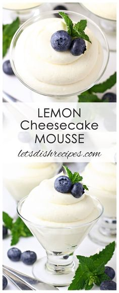 Lemon Cheesecake Mousse Recipe: A delicious, no-bake cream cheese based mousse, with a hint of lemon flavor. An easy but elegant dessert ready in 15 minutes! #dessert #cheesecake #lemon #mousse #nobake