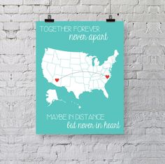 New to BySamantha on Etsy: Best Friend Gift - Personalized Art Print - Going Away Gift - Together Forever - United States Map Long Distance Gift (13.00 USD)