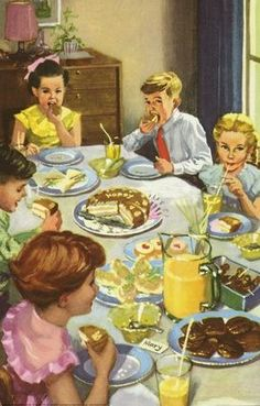 Eating cake - The Party - LadyBird Books 1960 Ilustrator Harry Wingfield Images Vintage, Photo Vintage, Retro Images, Vintage Pictures, Vintage Children's Books, Vintage Cards, Poster Vintage, Vintage Housewife, Ladybird Books