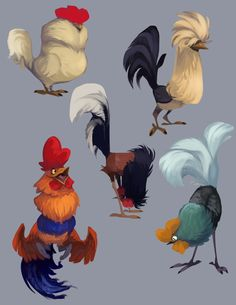 Rooster doodles! Guess how many times I broke out into impromptu uncalled for chicken sounds while drawing these, just guess