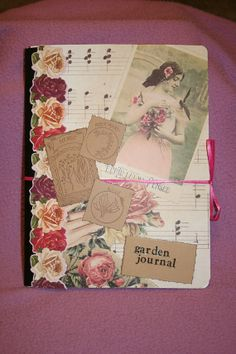 Garden themed altered composition book by ThePowellsBackPorch, $5.00