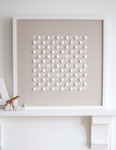 Sarah & Bendrix - Stars Beige, Framed Papercut, 50 x Kids Crafts, Arts And Crafts, Paper Crafts, Tarjetas Diy, Ideas Geniales, Paper Stars, Christening Gifts, Home And Deco, Little Star